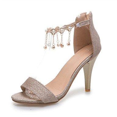 LvYuan Mujer-Tacón Robusto Tacón Stiletto-Confort Zapatos del club-Sandalias-Oficina y Trabajo Fiesta y Noche Vestido-Purpurina Materiales Silver