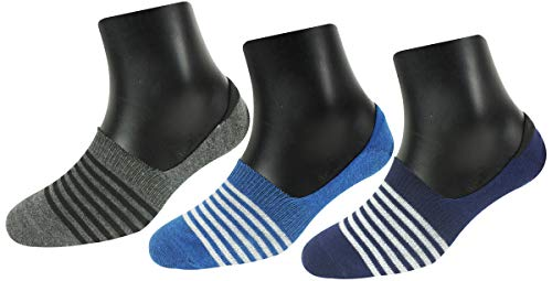 Neska Moda Women #39;s 3 Pairs Cotton No Show Socks  Blue,Grey S782