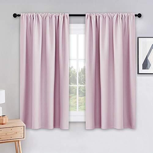 (PONY DANCE Children Bedroom Curtains - 42 x 45 inches Light Pink Window Curtain Drapes Rod Pocket Panels Thermal Insulated Room Darkening for Kitchen Short Length Draperies, Set of 2 Pieces)
