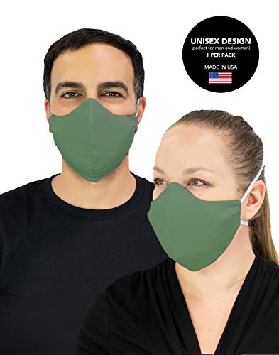 Masker-AID: USA Made 100% Cotton 3 Layer Reusable, Reversible, Breathable, Unisex Adult Face Mask (Over Head M/L, Sage)
