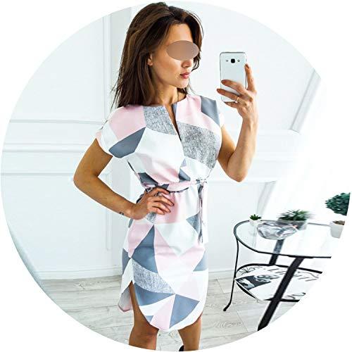 2019 Women Boho Style Geometric Print Beach Dress Elegant Party Dresses with Belt Vestidos,White,XXXL ()