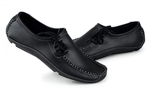 Aisun Mens Trendiga Klänning Läder Loafers Svart