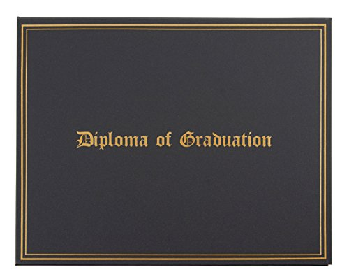 (Certificate Holder - Diploma Cover with Diploma of Graduation Gold Foil Imprint, Document Cover for Letter-Sized Award Certificate, 4 Corner Ribbons, Black with Silver Interior Lining, 11.5 x 9 Inches)