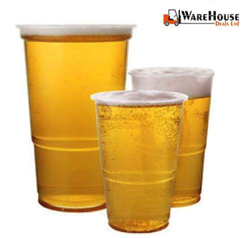 Pint TUMBLERS Strong Disposable Glasses Pint Cups Half Pint Cups Plastic Cups with Markings 100 x Disposable Pint//Half Pint Tumblers Outdoor Occasions Brand New Best for Party Pubs