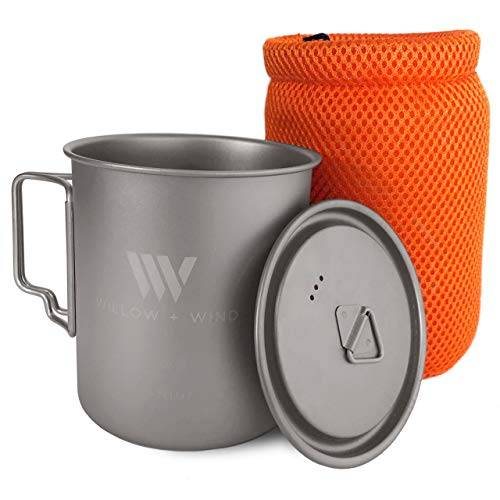 Willow + Wind Titanium 750ml Pot Lid Travel Pouch - Ultra Lightweight Cup Solo Backpacking Open Fire Camping