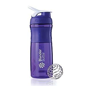 BlenderBottle SportMixer Tritan Grip Shaker Bottle, Purple/White, 28-Ounce