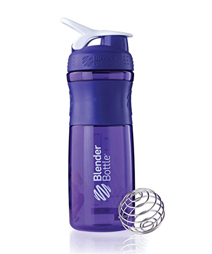 BlenderBottle SportMixer Tritan Grip Shaker Bottle, Purple/White, 28-Ounce