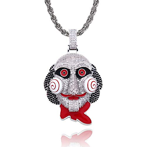 Moca Hip Hop Iced Out Bling 6ix9ine Chain Clown 69 Tekashi69 Pendant Saw Billy Cosplay Inspired Necklace with 24