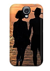 Awesome Design Two Lovers Stroling On The Beach At Sunset Hard Case Cover For Galaxy S4