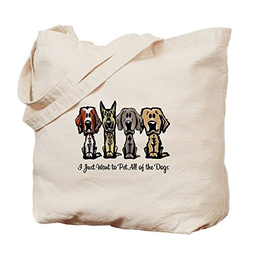 (CafePress I Just Want To Pet All Of The Dogs Natural Canvas Tote Bag, Cloth Shopping Bag)