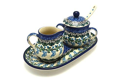 Polish Pottery Cream & Sugar Set with Sugar Spoon - Wisteria