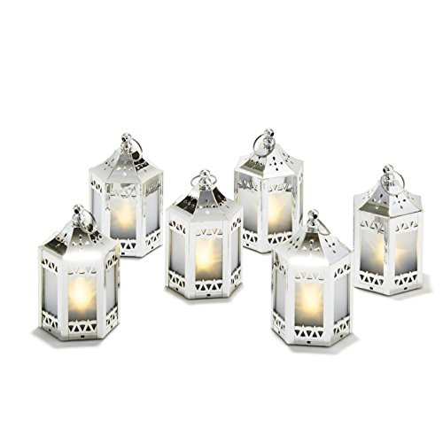 "6 Silver Mini Holographic Star Lanterns, 5"", Warm White LEDs, Batteries Included"