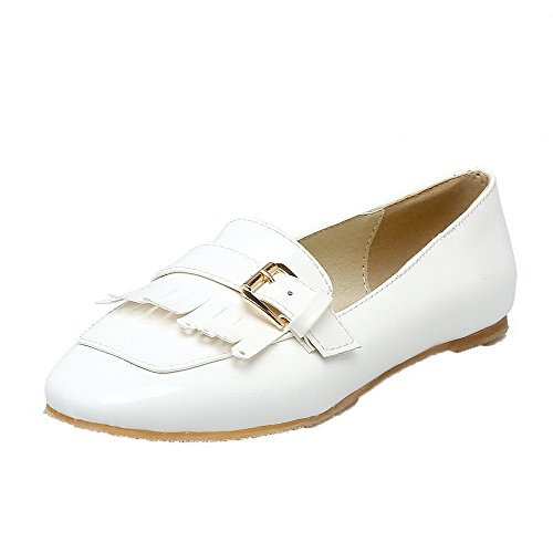 Odomolor Women's Patent Leather Square Closed Toe Fringed Pumps-Shoes White 0u7U5