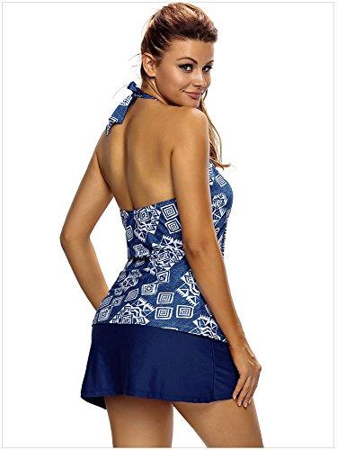 Minetom Bañador Tankini De Dos Piezas Mujer Bikini Top Verano Elegante Cómodo Beach Swimwear Impresión Tribal Azul Faldas Azul