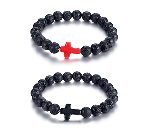 VNOX Genuine Lava Gemstone Bead with Wooden Cross Strength Bracelet for Men Women,Black&Red Set Red Crucifix