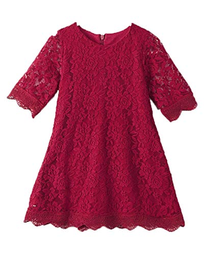 (Flower Girl Dress, Lace Dress 3/4 Sleeve Dress (Red, 12-18 Months))