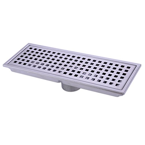 HANEBATH Linear Shower Floor Drain with Removal Cover - Made of Sus304 Stainless Steel, 12 Inch Long - Brushed - Hook Riser Shower Outlet
