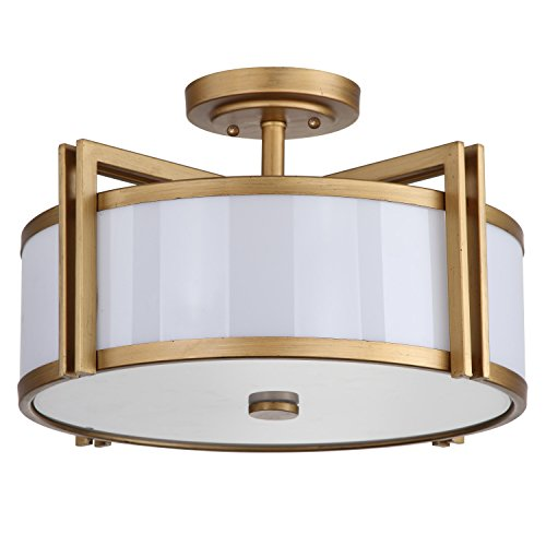 (Safavieh Lighting Collection Orb Antique Gold 10.25-inch Semi Flush Ceiling Light )