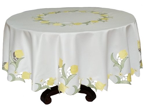 (Xia Home Fashions Spring Tulip Embroidered Cutwork Round Spring Tablecloth, 72-Inch)