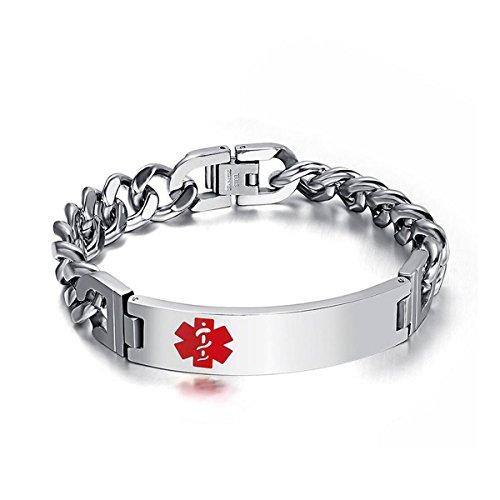 DIB Free Engraving Stainless Steel Medical Alert ID Bracelets Men Women Silver, 8.5 inch ()