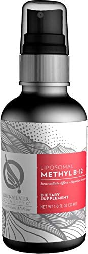 Quicksilver Scientific Liposomal Methyl B-12 Liquid – 1000 Micrograms Bioactive Methylcobalamin with Phosphatidylcholine, Nano Technology for Superior Vitamin B Delivery Absorption 1 Ounce