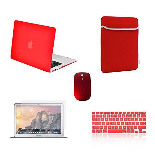 TOP CASE - 5 in 1 Rubberized Hard Case, Keyboard Cover, Screen Protector, Sleeve, Mouse Compatible with MacBook Air 13