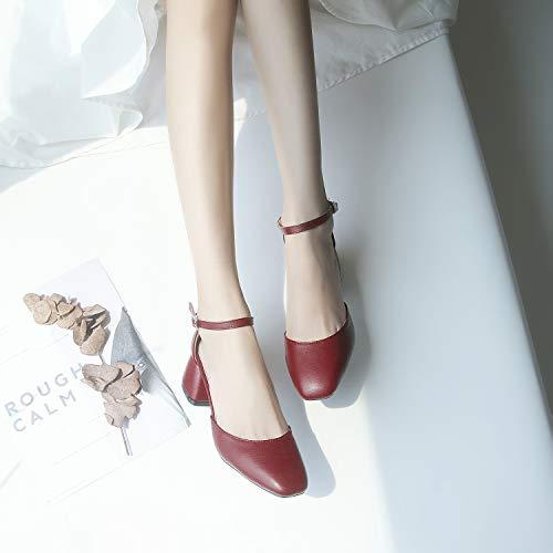 Noche Suave Baotou Moda Viento Zapatos Alto Retro Tacón Grueso Yukun Sandalias De Hadas Con Wine Red Girl TzHwfI