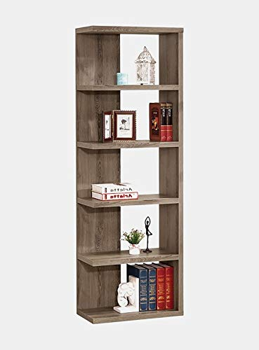BUkk Wood Bookcase - Bookcase with 5 Shelves - Rustic Gray -