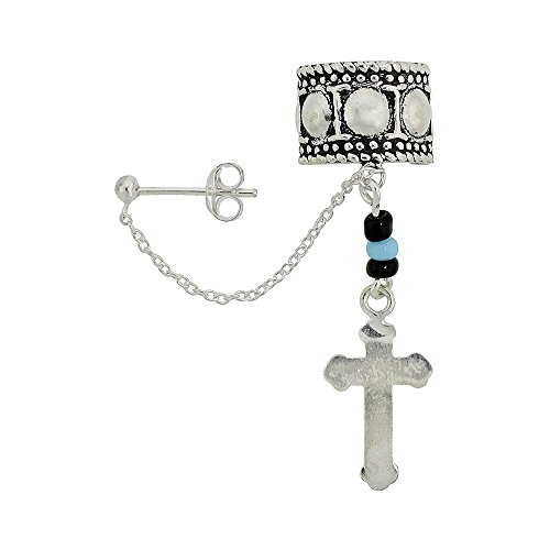 Sterling Silver Cross Earring chain