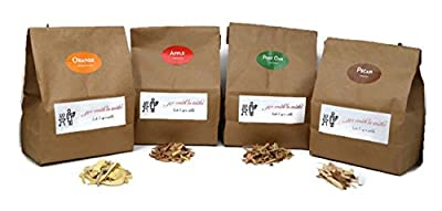 Jax Smok'in Tinder PREMIUM BBQ WOOD CHIPS FOR SMOKERS VARIETY PACK - Our Most Popular MEDIUM SIZED SMOKER CHIPS - APPLE, POST OAK, ORANGE AND PECAN Packed in 2.90 Liter Breathable Paper Bags and Box
