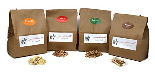 Jax Smok'in Tinder Premium BBQ Wood Chips for Smokers Variety Pack - Our Most Popular Medium Sized Smoker Chips - Apple, Post Oak, Orange and Pecan Packed in 2.90 Liter - Meat Smoking Chips