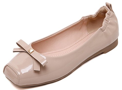 On Shoes Top Flats Apricot Square Closed Toe Sweet Bowknot Low Slip Womens Easemax AIq41