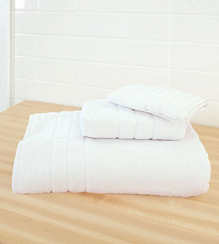 Cariloha 600 GSM Bamboo & Turkish Cotton 3 Piece Towel Set - Odor Resistant, Highly Absorbent - Set Includes 1 Bath Towel, 1 Hand Towel & 1 Washcloth - White