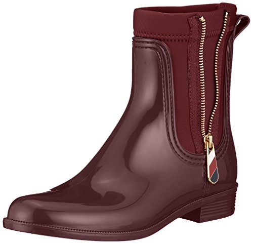 Bottes Chocolate Hilfiger Rain Material Tommy Pluie De amp; Boot Bottines Rouge 296 Femme Mix decadent XwOwgF