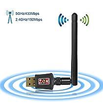 Zoweetek®, Receptor WIFI, USB inalámbrico Dual Band AC600 2.4GHz/5Ghz