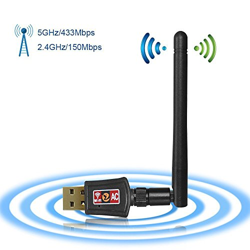 Zoweetek® Clé USB Wifi 600 Mbp avec Antenne Double Bande | USB 2.0 | Plug and Play | WPS | Indicateur LED | Deux Fréquences 2,4 / 5 GHz | Nouvelle norme Wi-Fi 802.11B / G / N / AC | Compatible avec Windows XP/ Vista/ 7/ 8/ 10, Linux, Mac OS.