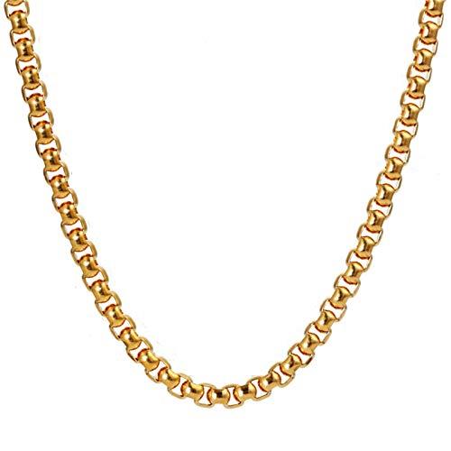 Epinki Acero Titanio Hombre Collar Cadena Veneciana Forma Cadenas de Amistad Colgante Oro