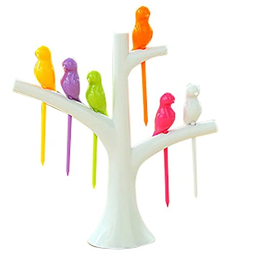 10 Sets Treetop Birds Fruit Forks Dessert Forks for Dessert Cake Dinnerware Party Cocktail white