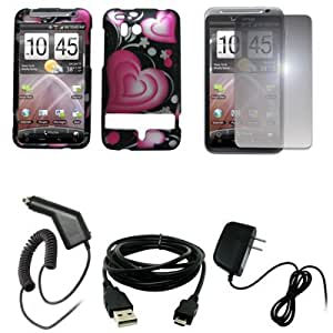 EMPIRE Black with Pink Hearts Design Hard Case Cover + Mirror Screen Protector + Car Charger (CLA) + Home Wall Charger + USB Data Cable for Verizon HTC Thunderbolt 6400