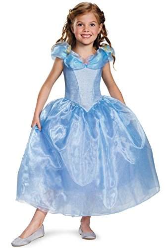 Disguise Cinderella Movie Deluxe Costume, Large (10-12) (Halloween Costume Disney Princess)