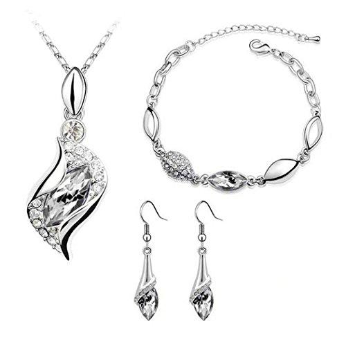 Diamond Flower Drop Necklace (Women Jewelry Set, Inkach Luxury Women Crystal Drop Necklace/Bracelet/Earrings Jewelry Sets (G))