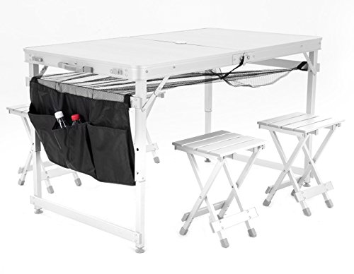 ortable Folding Picnic Table w/ 4 Seats & Storage Net (silver) (Aluminum Picnic Chair)