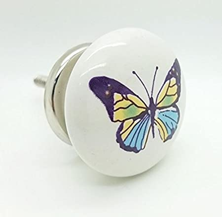 Colourful Butterfly Ceramic Door Knob Vintage Shabby Chic Cupboard ...