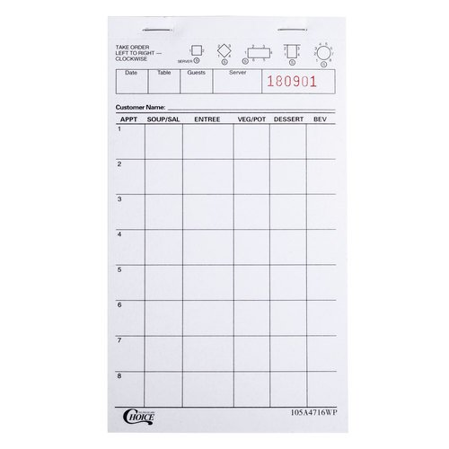 Choice 1 Part Waiter Waitress Order Pad