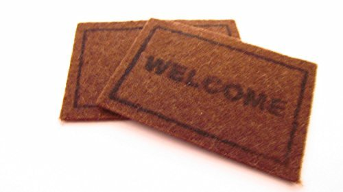 Miniature 1/12th Scale Set Of 2 Doormats 1 x Welcome and 1 x Plain To Place In Front Of Your Fairy Door (Mat Dollhouse Door)