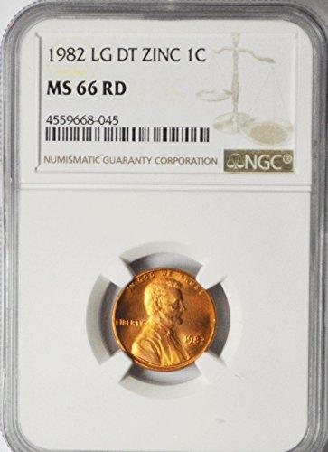 1982 P Lincoln Memorial Cent Large Date Zinc Philadelphia 1c MS66 NGC RD