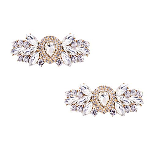 ElegantPark DJ Women Rhinestones Shoe Clips Decorative Jewelry Charms Water Drop Wedding Party Accessories Decoration Gold 2 Pcs