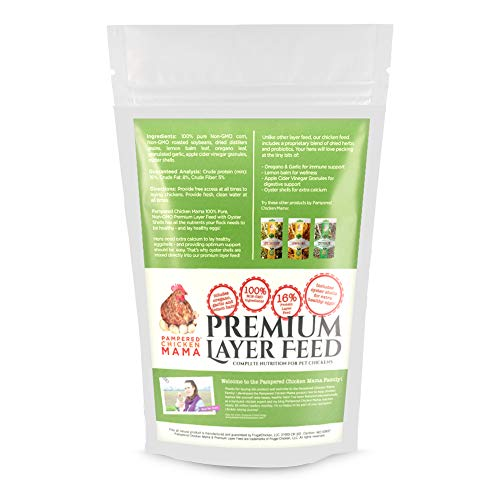 Pampered Chicken Mama Backyard Chicken Feed - Premium Layer Feed Pellets - High Protein & High Calcium All-Natural Backyard Chicken Grower Feed Supplies for Laying Chickens (10 Pounds) from Pampered Chicken Mama