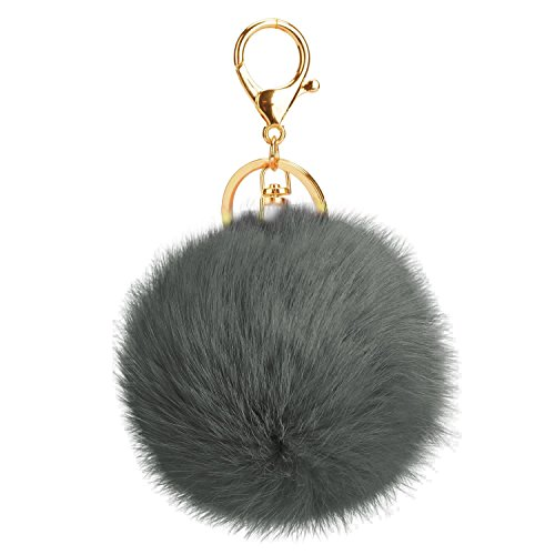 Big Ball Chain (AStorePlus Gold Plated KeyChain Car Bag Pom Pom Key Chain Ring Fur Ball Pendant Charm Gift - Dark Gray)