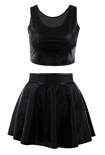Jescakoo Reversible Faux Leather PU Shiny Crop Tank Top Pleated Skater Skirt Set - Shirt Leather
